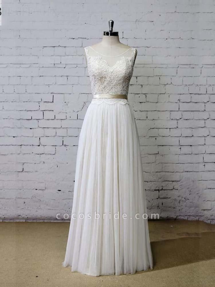 Elegant Floor Length Lace Tulle A-line Wedding Dresses