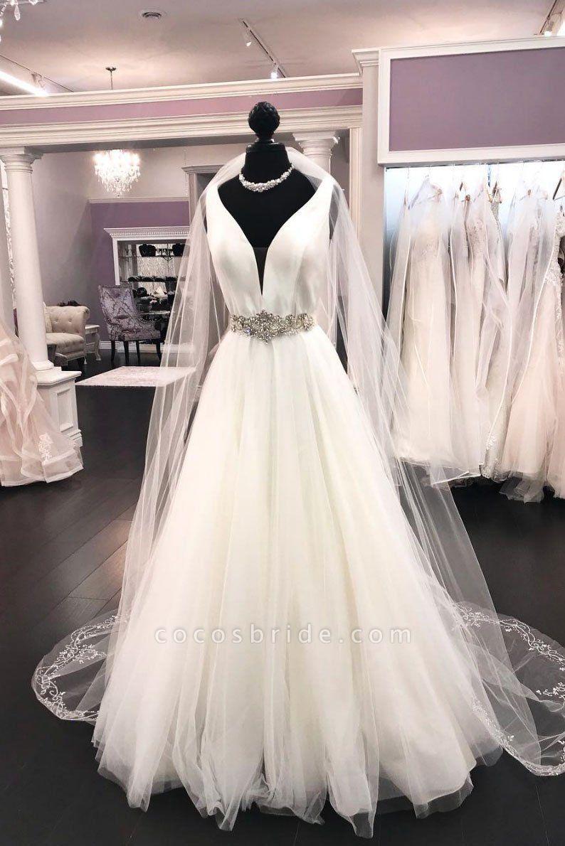 White Satin Tulle V Neck Long Halter Wedding Dress