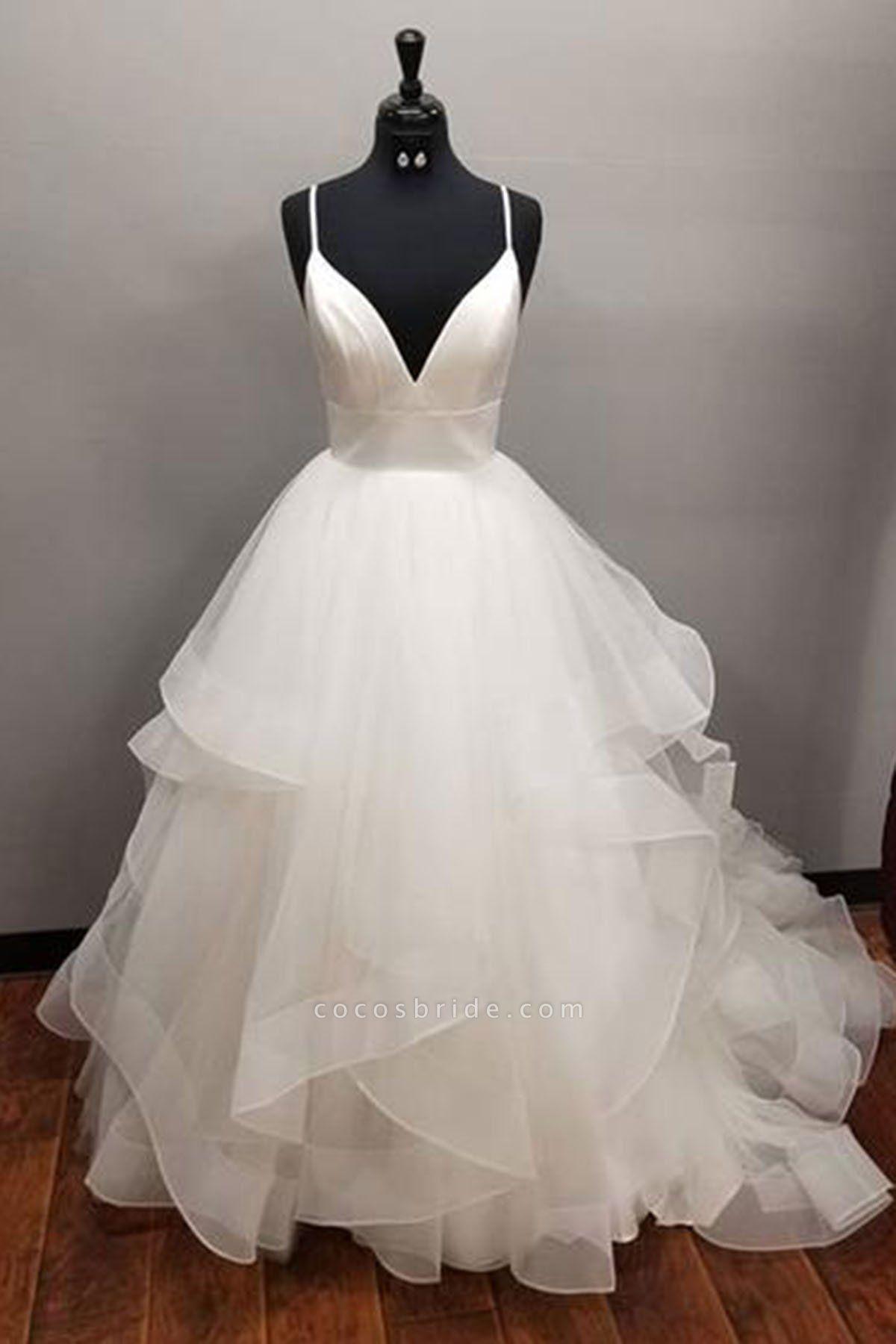 Long Multi-layered Ball White Tulle Wedding Dress