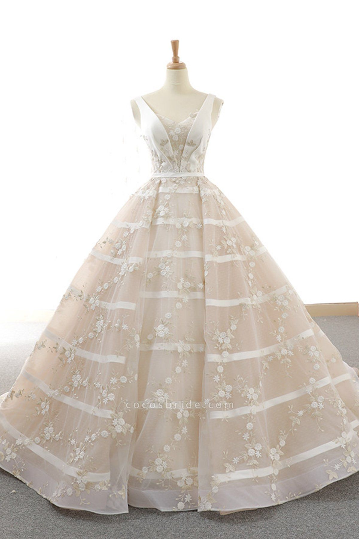 V Neck Long A-Line Ball Gown Wedding Dress