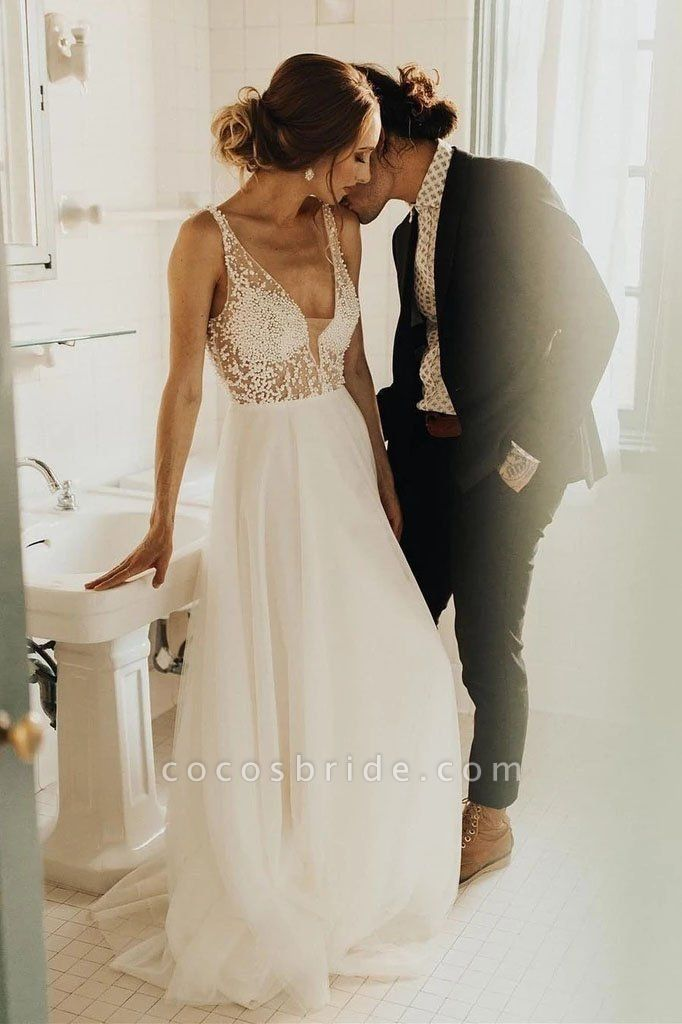 Simple Beading Long Tulle Beach A Line Deep V Neck Wedding Dress