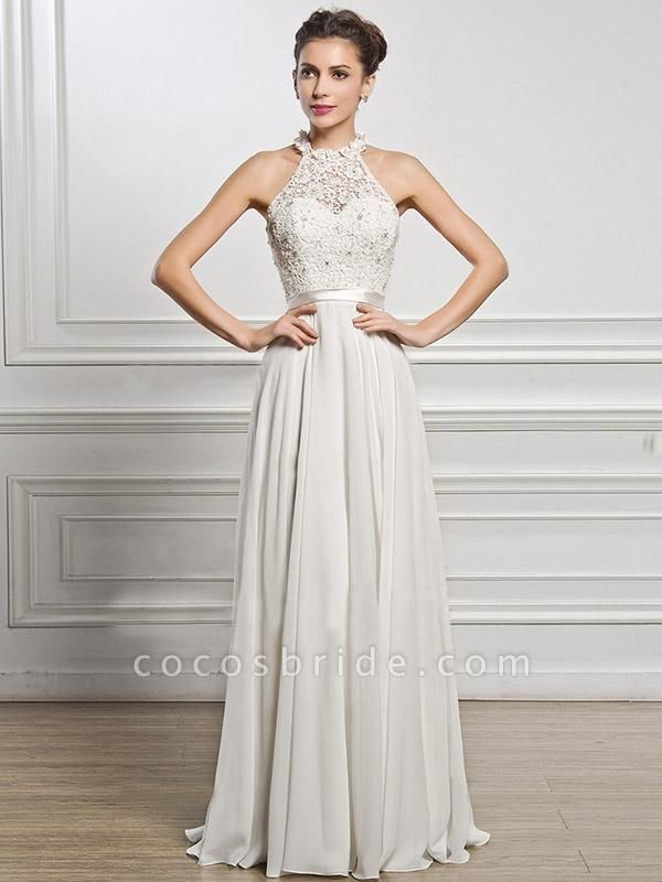 Halter Sleeveless Open Back A-Line Wedding Dresses