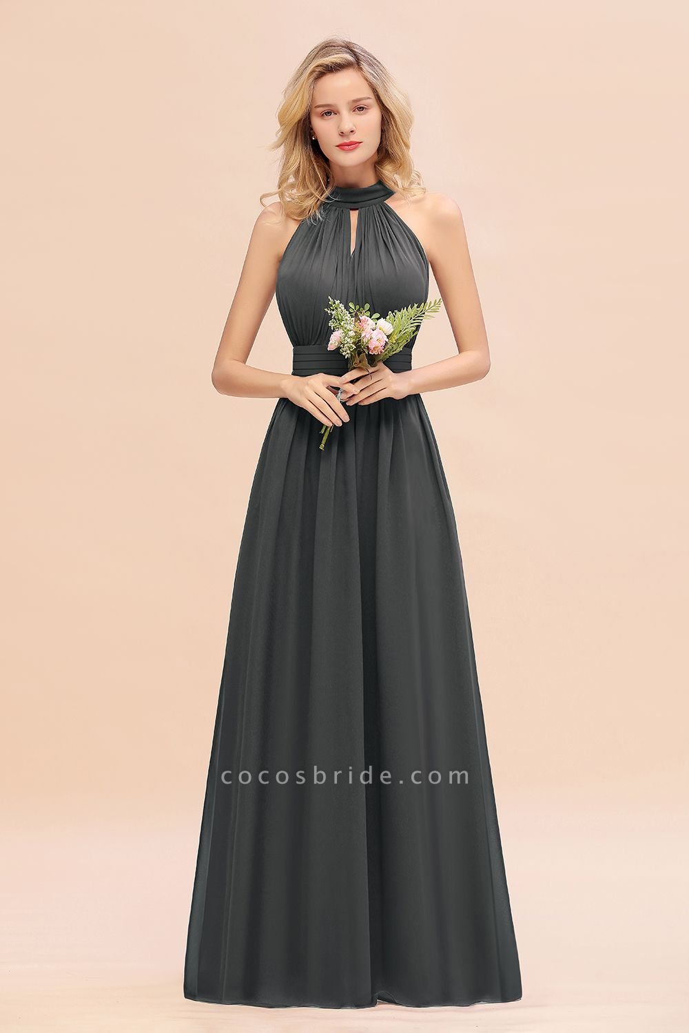 BM0758 Glamorous High-Neck Halter Bridesmaid Affordable Dresses with Ruffle