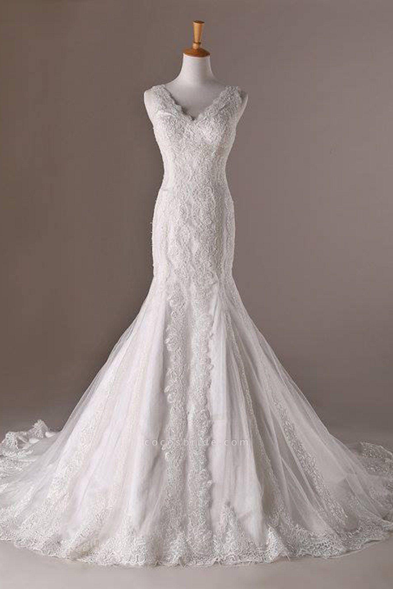 White Lace Tulle V-Neck Mermaid Train Long Wedding Dresses
