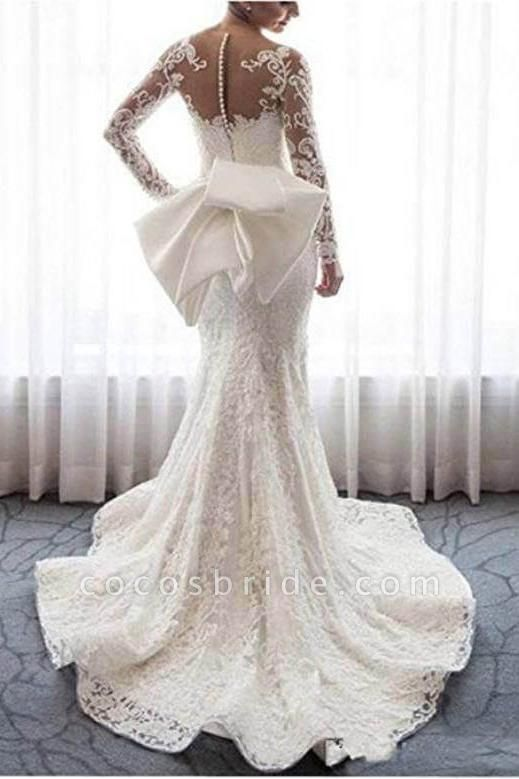 Gorgeous Lace with Long Sleeves Bowknot Mermaid Wedding Dress