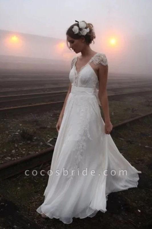Romantic V Neck Cap Sleeves Chiffon Beach Wedding Dress