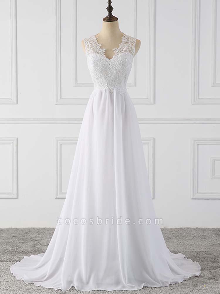 Elegant V-Neck Sleeveless Covered Button Ruffles Wedding Dresses