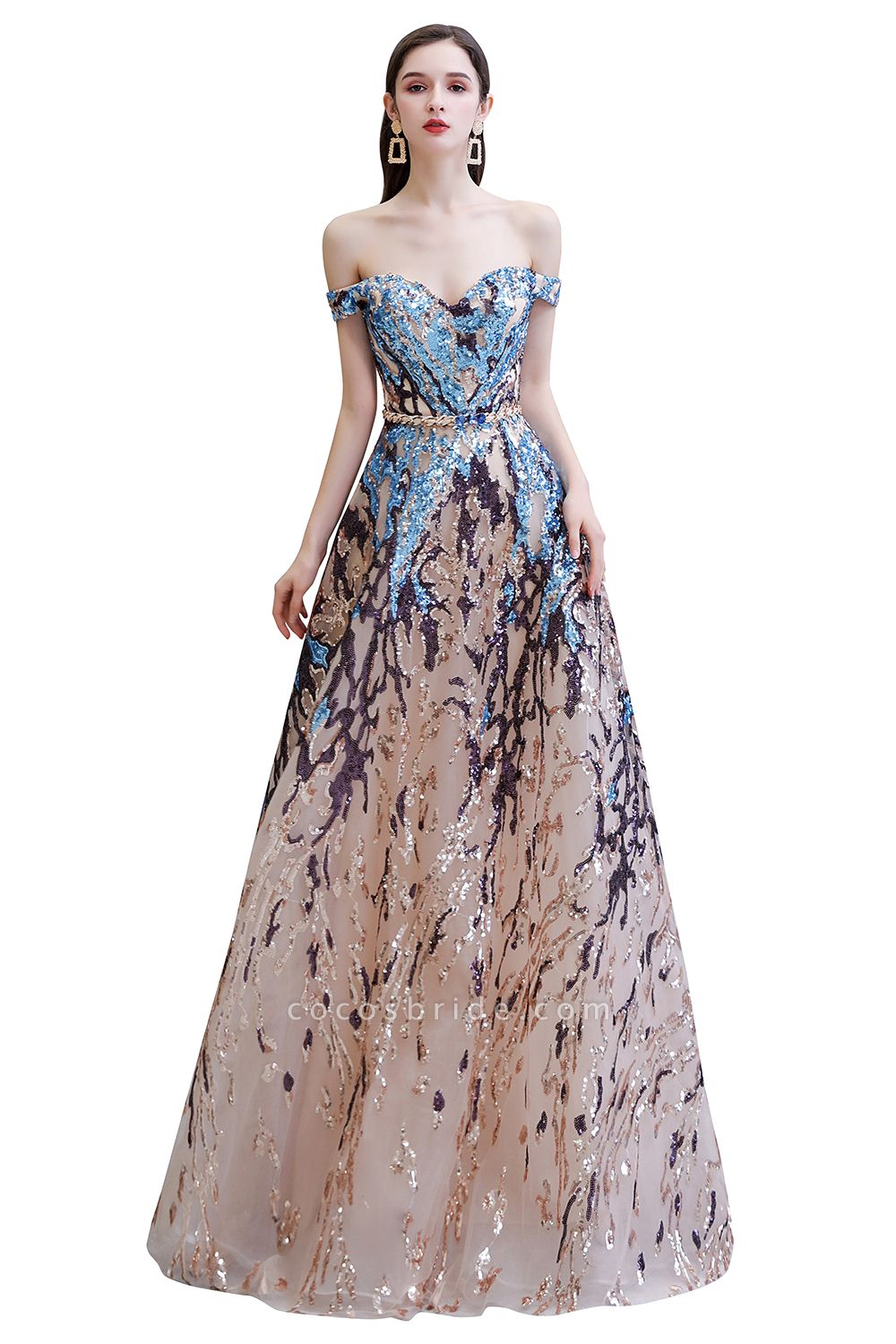Off-the-Shoulder Sequins Long Multi-Color Prom Dress