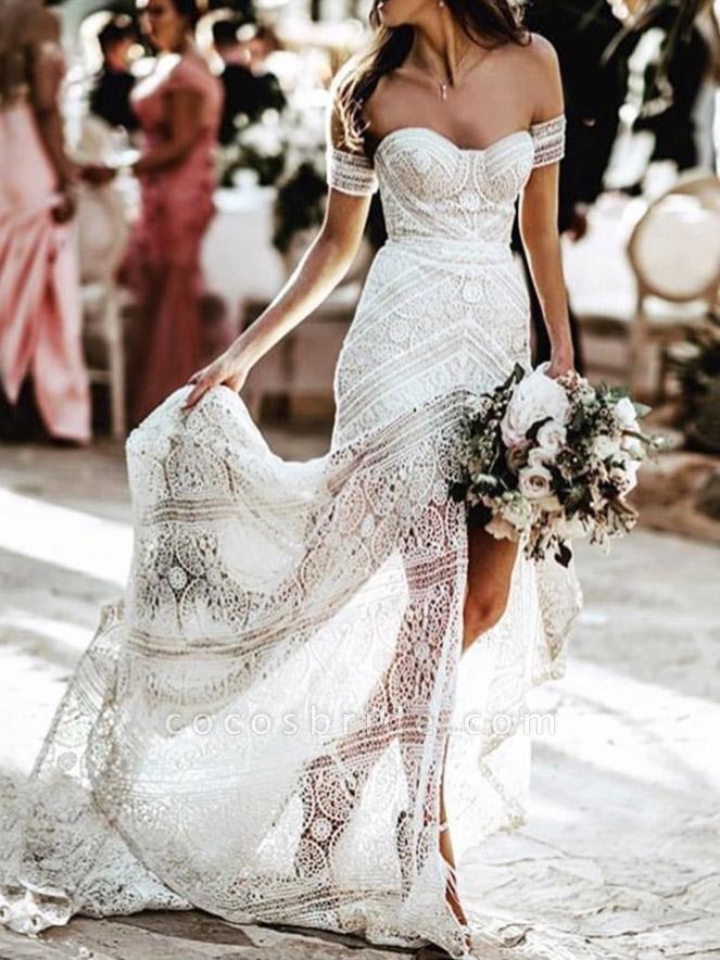 Elegant Sweetheart Lace Mermaid Boho Wedding Dresses