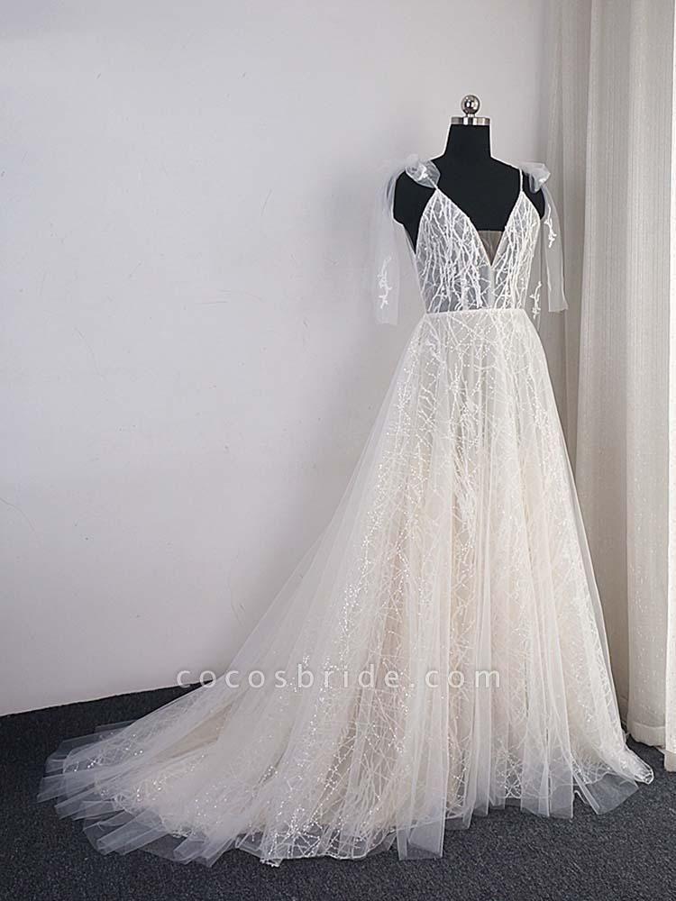 Shinny Deep V-Neck Backless A-Line Wedding Dresses