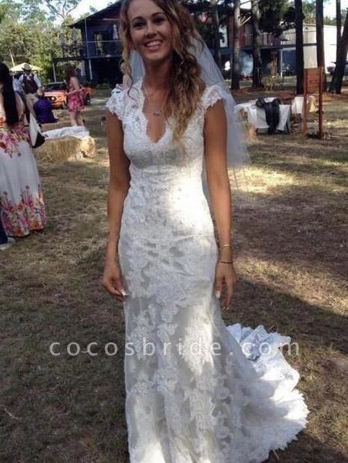 V Neck Cap Sleeves Floor Length Lace Wedding Dresses