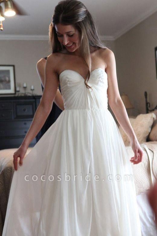 Floor Length Sweetheart Chiffon Boho Long Beach Wedding Dress