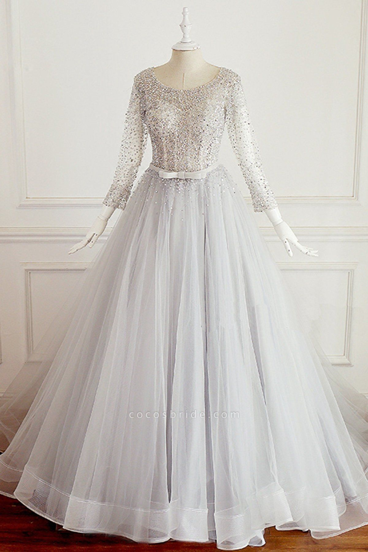 Light Gray Tulle Silver Beaded Long Sleeve Wedding Dress With Bow