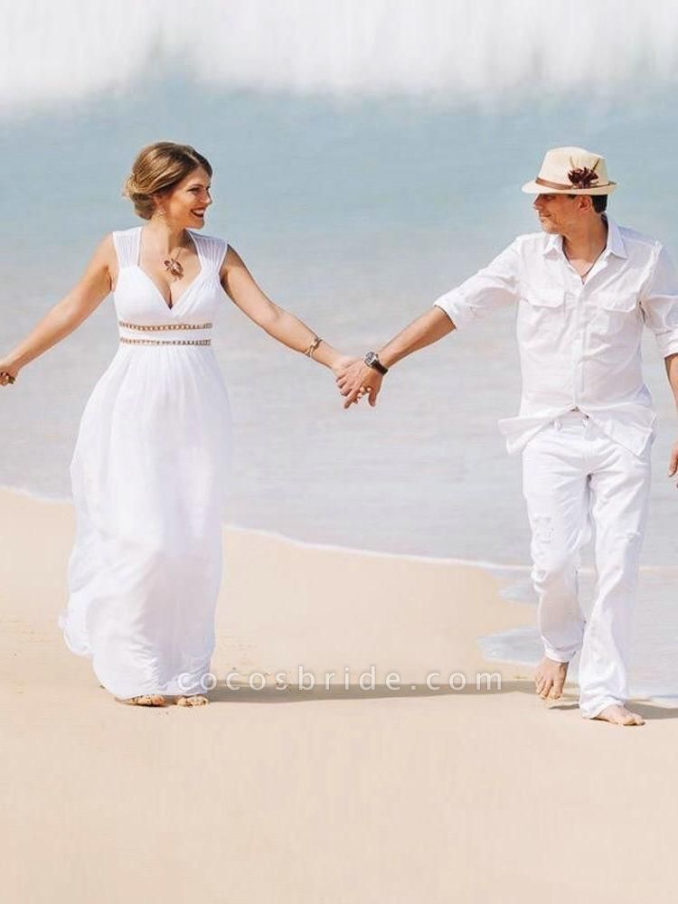 Simple V Neck Cap Sleeve Boho Wedding Dresses