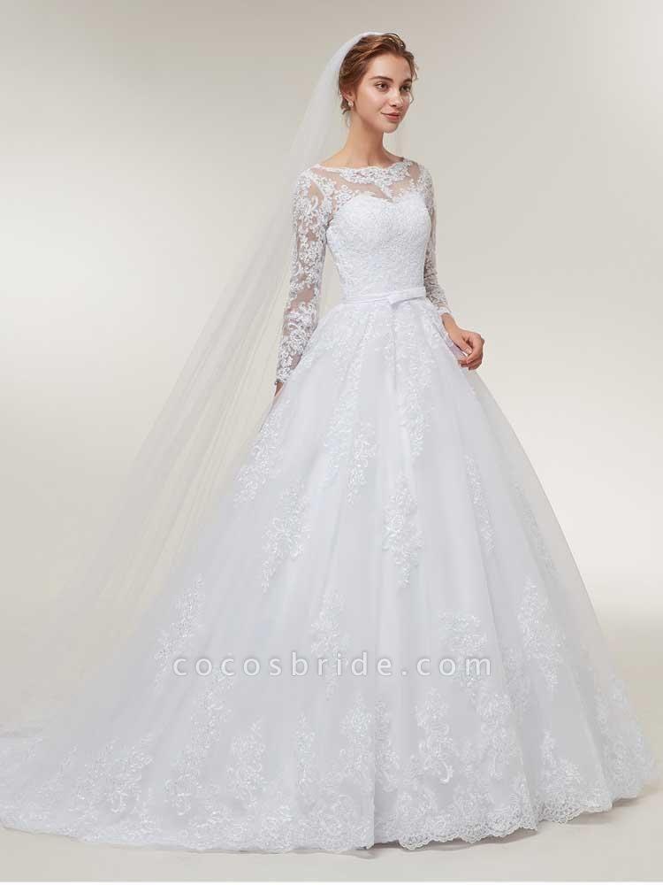 Glamorous Long Sleeve Lace Ruffles Wedding Dresses