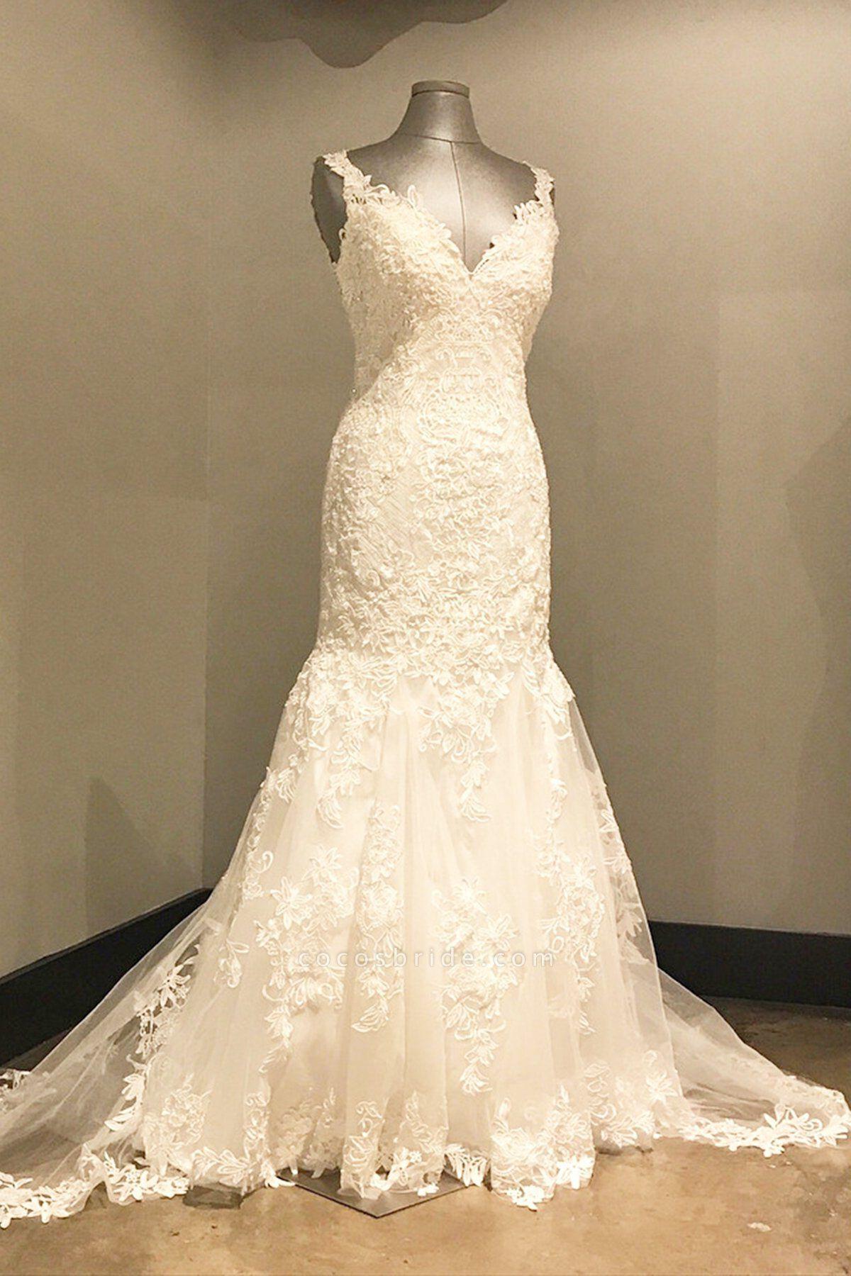 Ivory Lace Long V Neck Mermaid Open Back Wedding Dress
