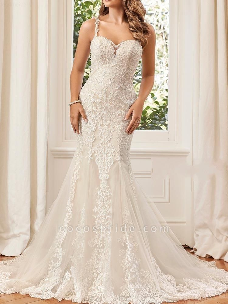 Unique Lace Appliques Mermaid Wedding Dresses