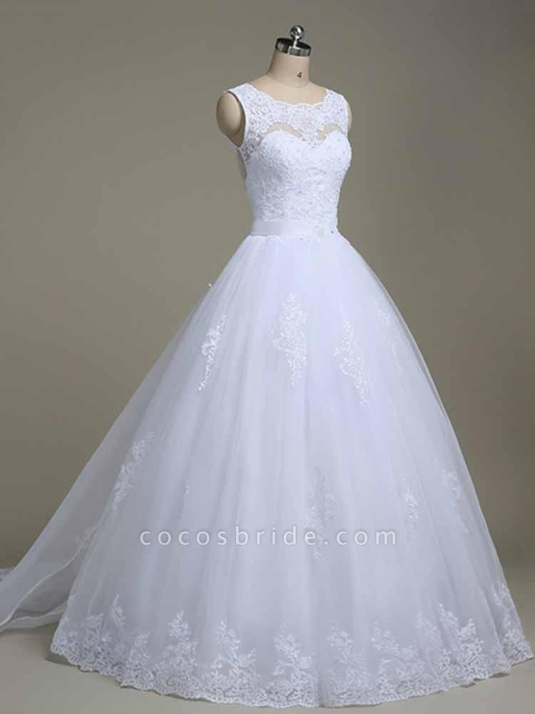 Elegant Jewel Lace Ball Gown Wedding Dresses