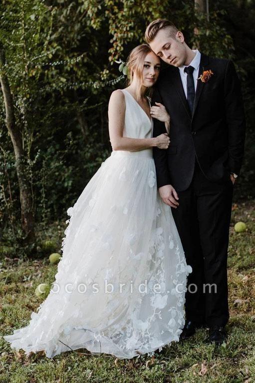 A Line V Neck Floor Length Ivory Sleeveless Wedding Dress