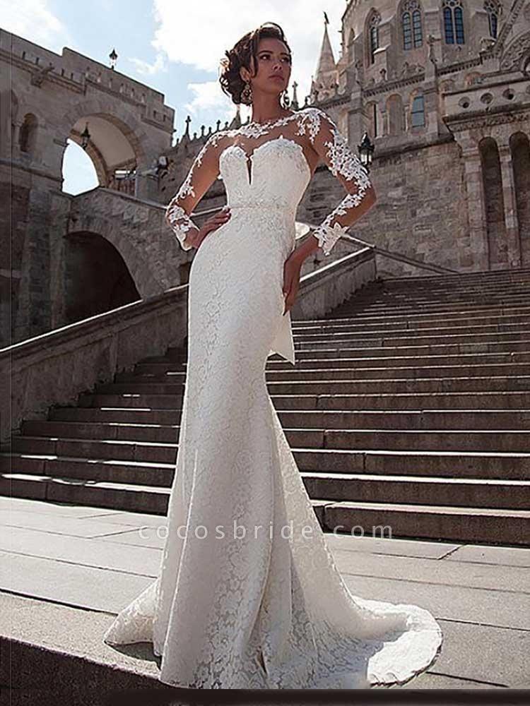 Glamorous Long Sleeves Lace Bowknot Mermaid Wedding Dresses