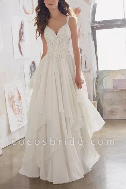 Straps V Neck Illusion Chiffon Beach Gown Cheap Wedding Dress