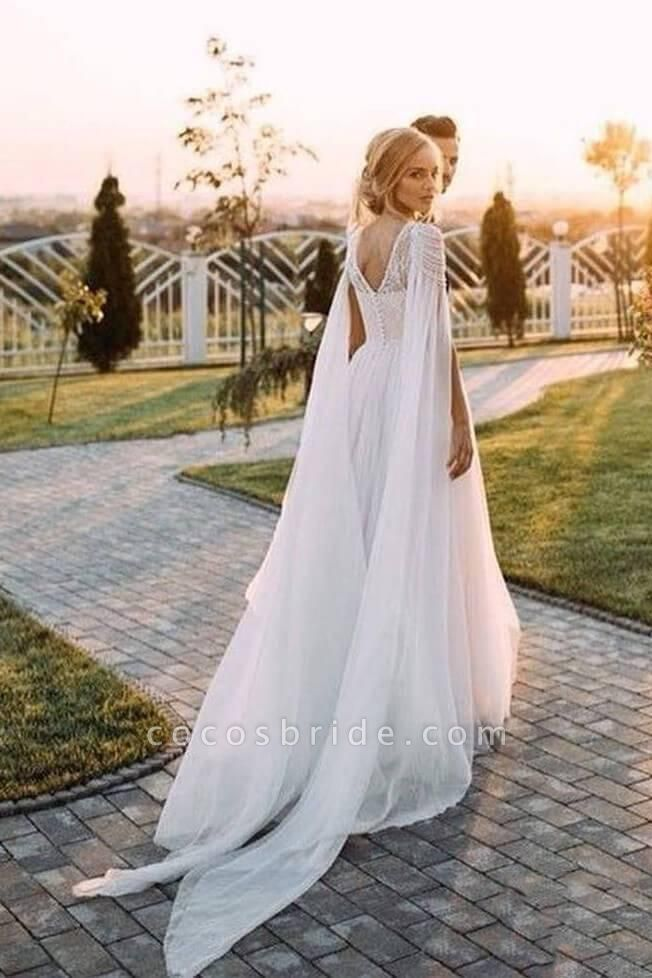 A Line Beaded Cap Sleeves Boho Beach Wedding Dress