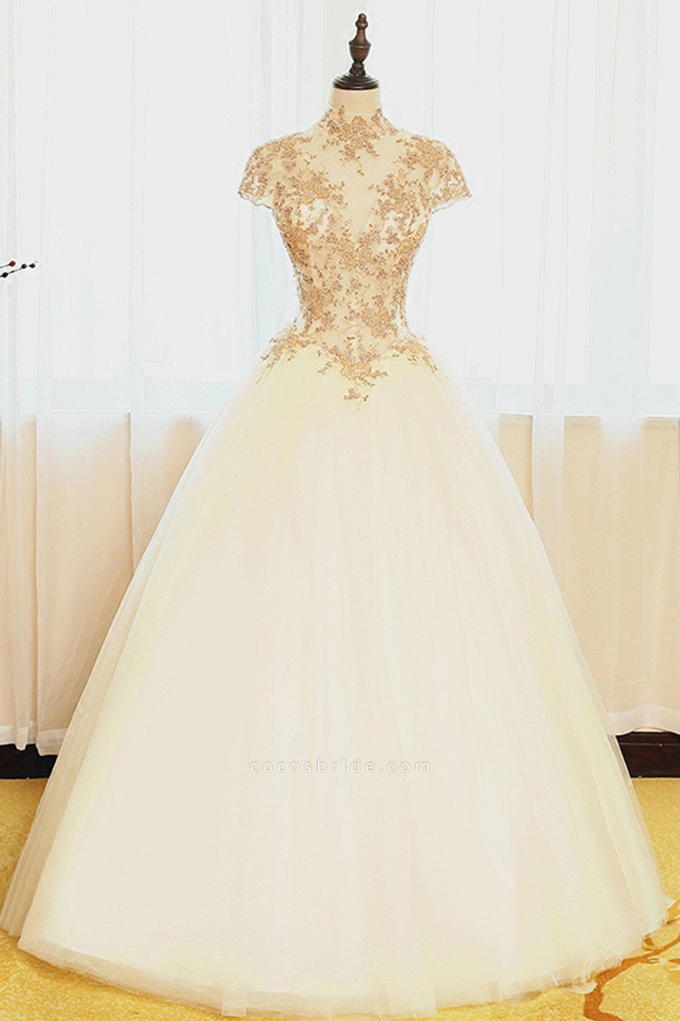 Ivory Organza Lace Applique High Neck Cap Sleeves A-Line Wedding Dresses