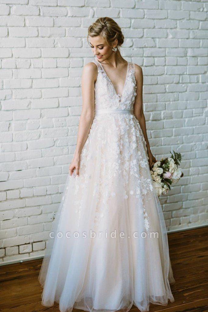 Floor Length V Neck Lace Applique Beach Puffy Tulle Wedding Dress
