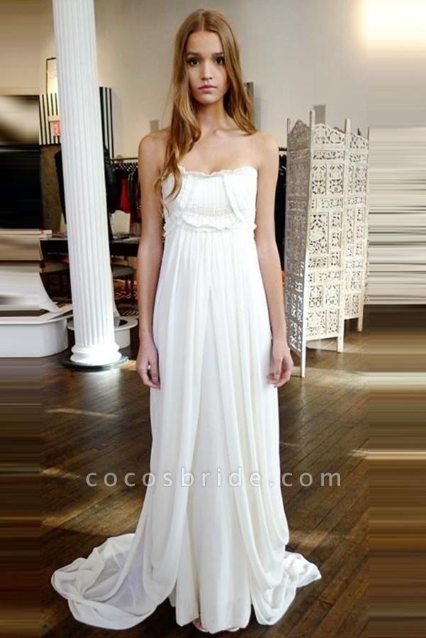 Unique Strapless Sweep Train Zipper Natural Ivory Ruffles Beach Wedding Dress