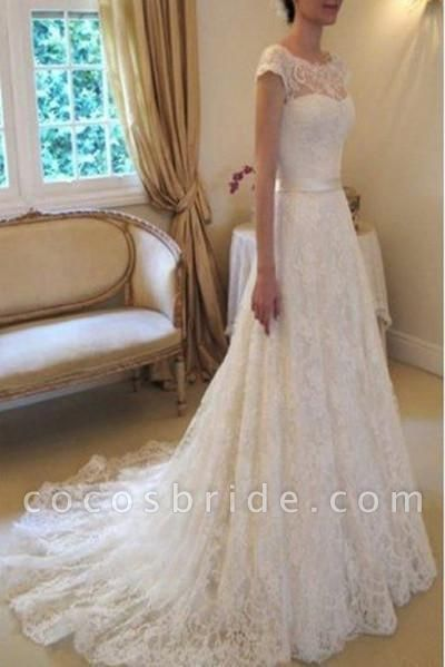 Cap Sleeve Lace Long With Court Train Ivory Beach Wedding Dress