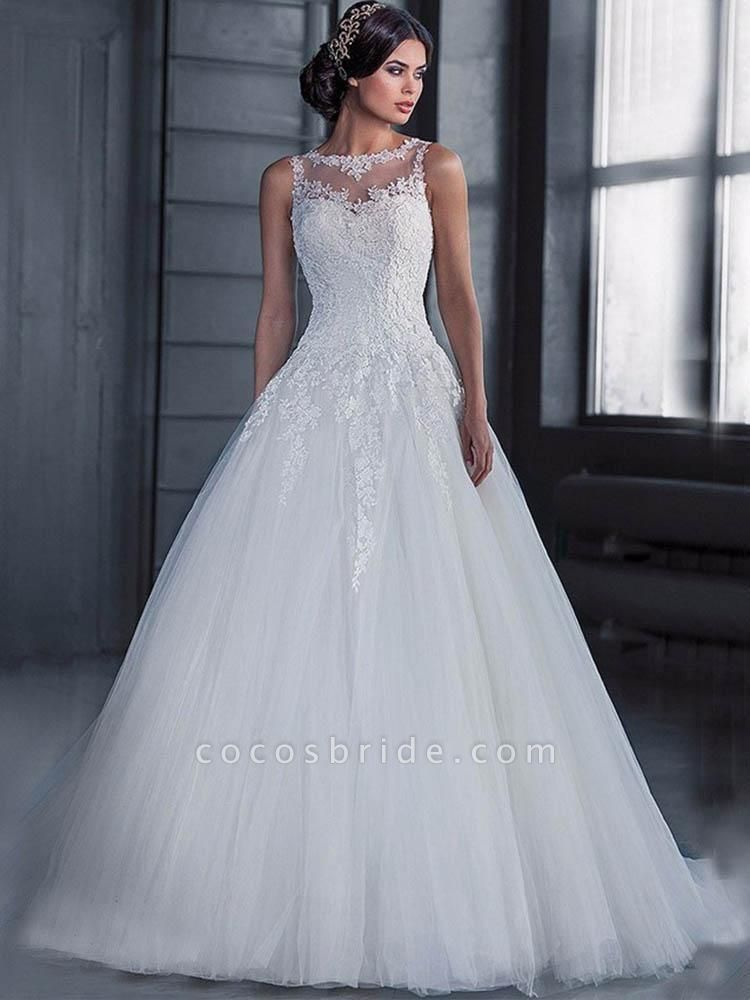 Glamorous Lace Tulle Ball Gown Wedding Dresses