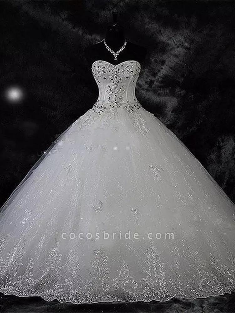 Modest Sweetheart Beaded Ball Gown Wedding Dresses
