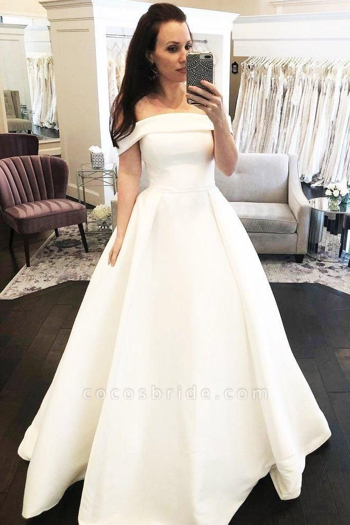 Simple A-Line Off the Shoulder Button Covered Long Cheap Wedding Dress