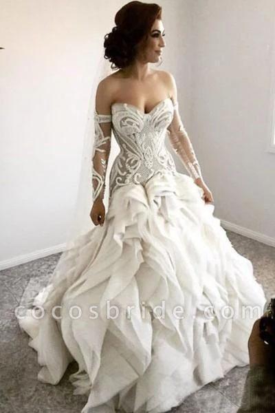 Gorgeous Sweetheart Detachable Sleeves Unique Wedding Dress
