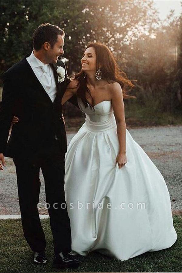 Simple Sweetheart Satin with Bowknot Cheap Beach Wedding Dress