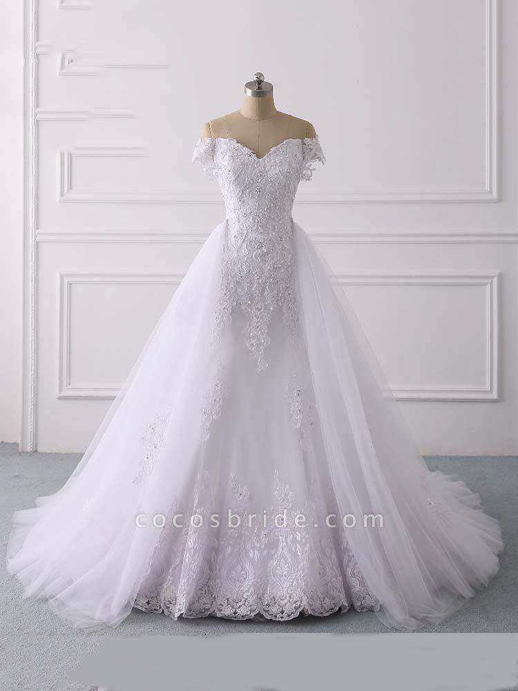 Glamorous Off-the-Shoulder Lace Tulle Mermaid Wedding Dresses
