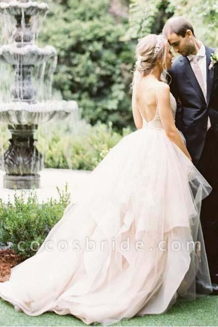 Puffy Spaghetti Straps V Neck Backless Asymmetrical Light Pink Long Wedding Dress