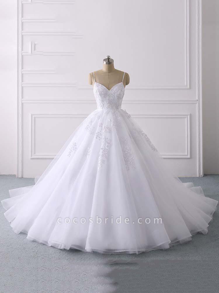 Spaghetti Straps Lace Tulle Ruffles Wedding Dresses