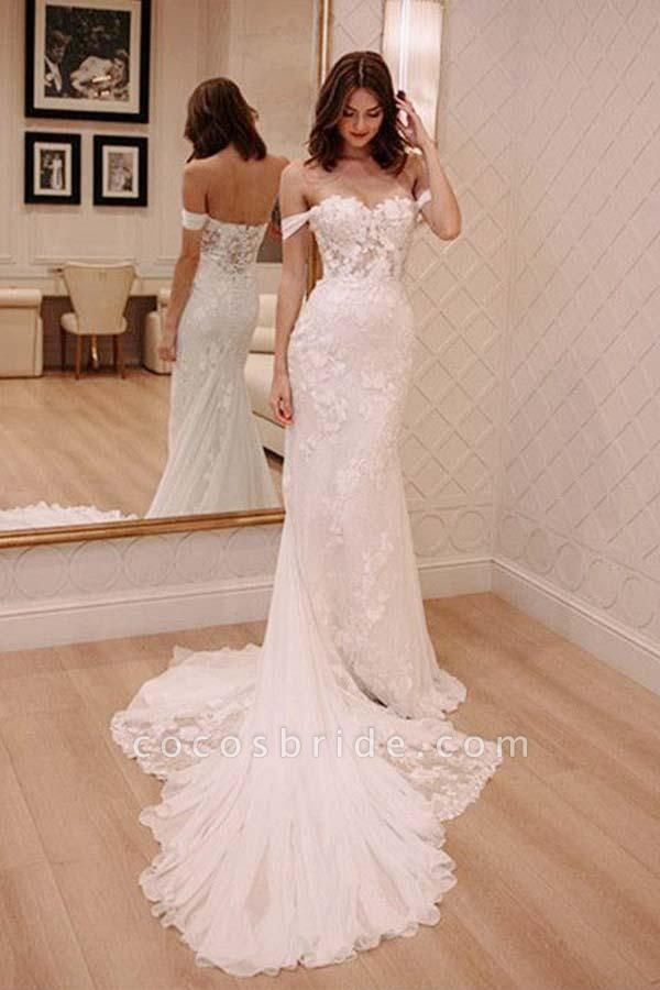 Sexy Off Shoulder Appliqued Beach with Court Train Ivory Wedding Dress