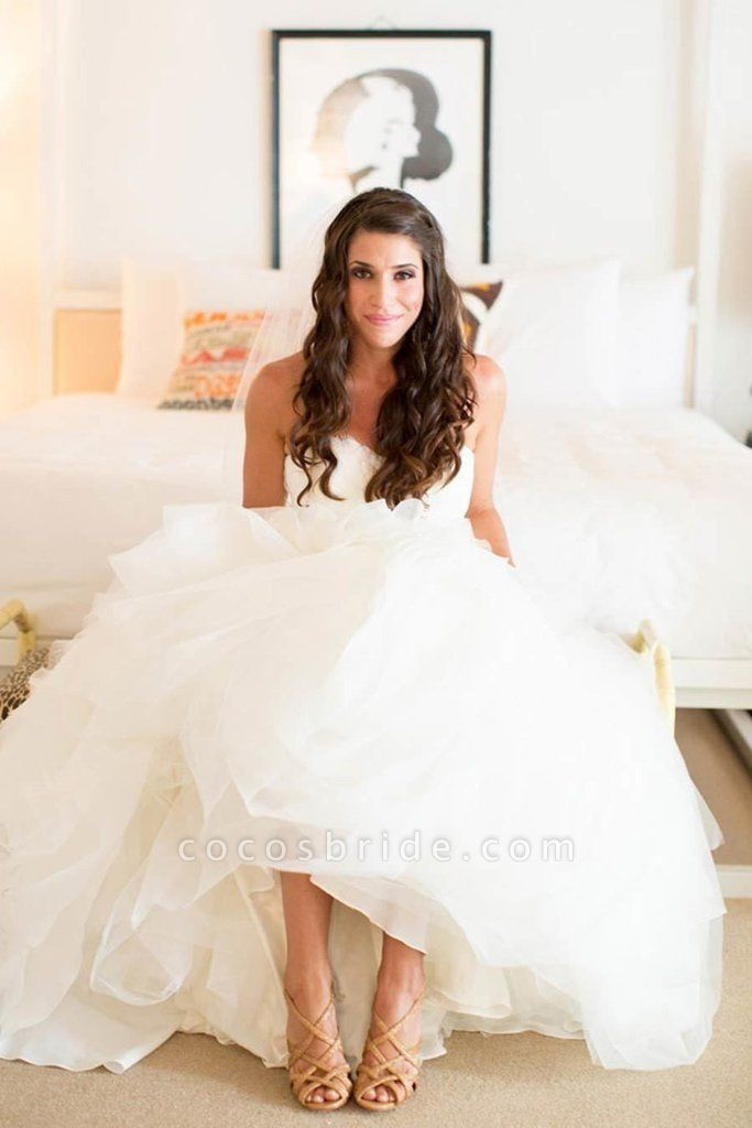 Ivory Sweetheart Long Tulle With Ruffles Beach Wedding Dress