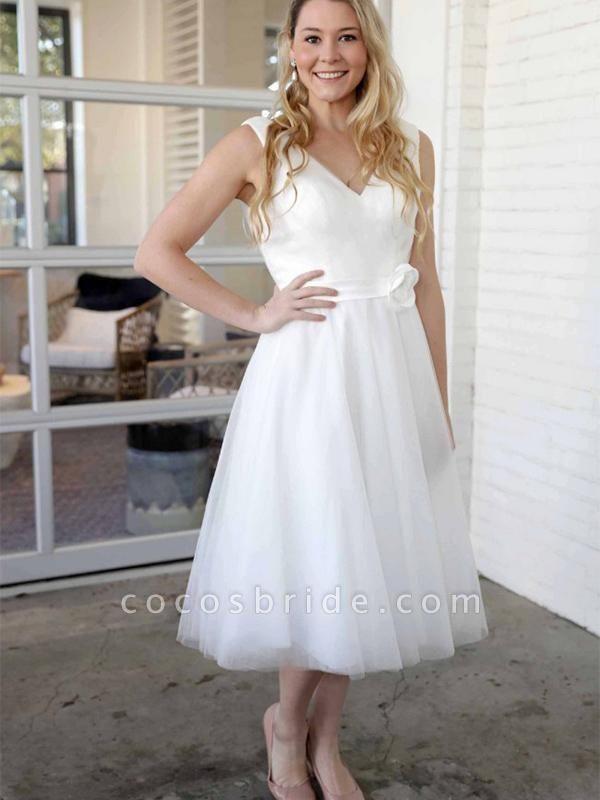 Elegant V-Neck Sleeveless Tea Length Lace Up Short Wedding Dresses