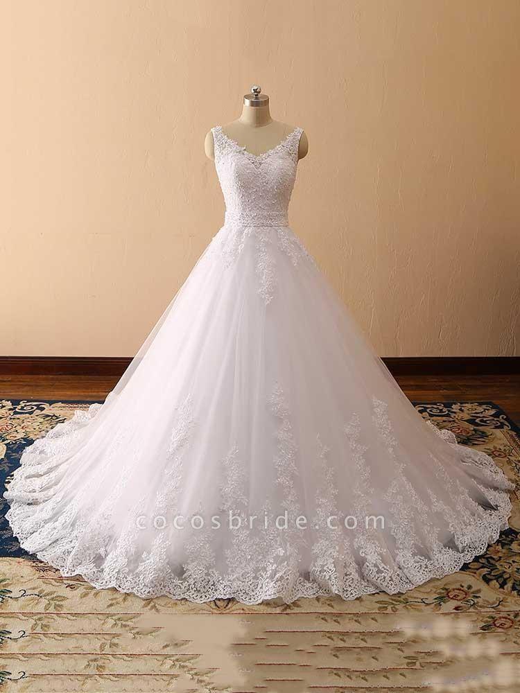 Gorgeous Spaghetti Strap V-Neck Backless Wedding Dresses