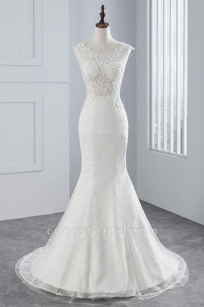 Glamorous Long Mermaid Jewel Tulle Sleeveless Wedding Dress with Appliques Lace
