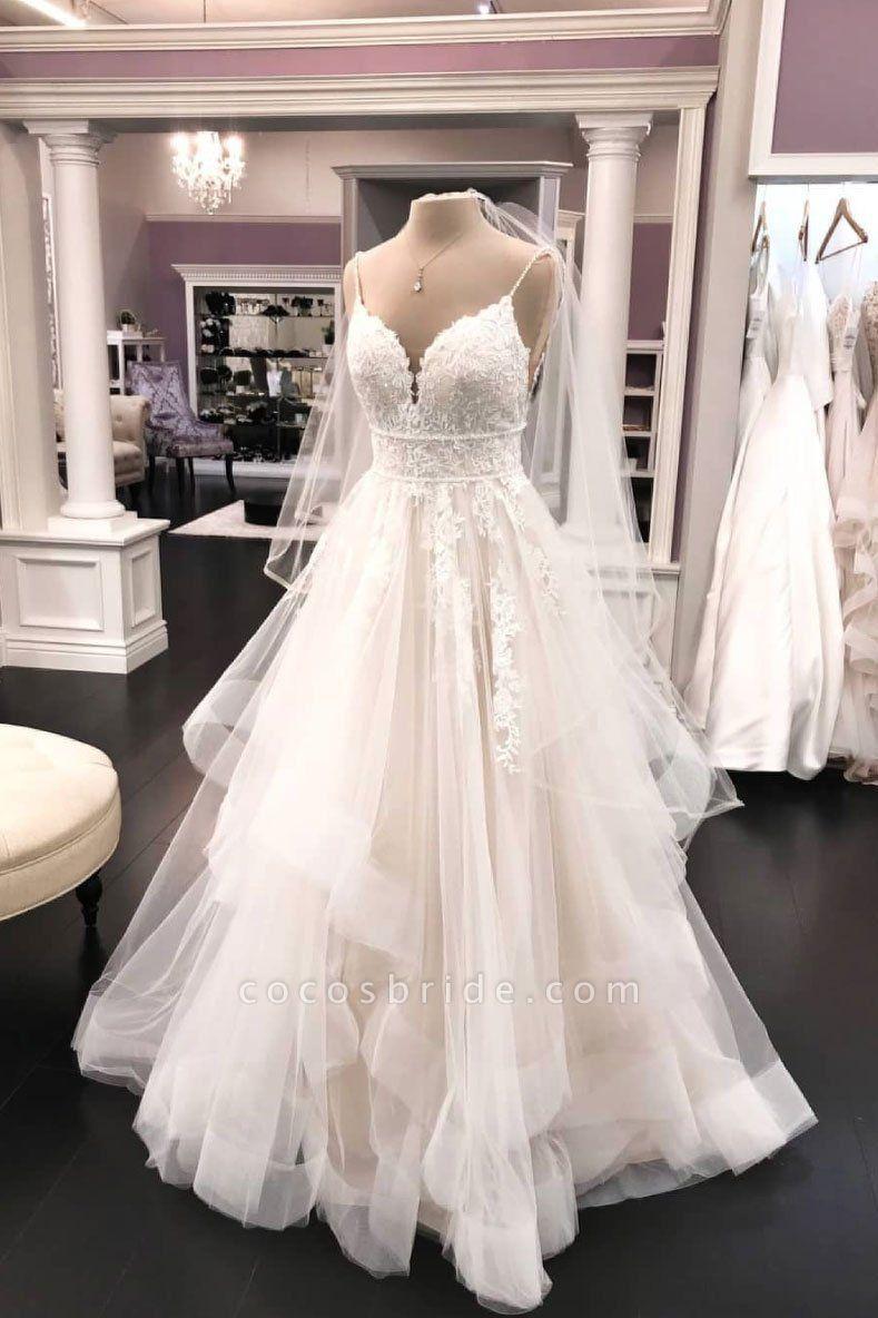 Ivory Tulle Lace V Neck Spaghetti Straps Veil Long Wedding Dress