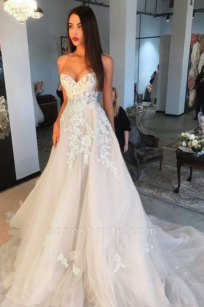 Elegant A Line Sweetheart Tulle Lace Applique Ivory Wedding Long Dress