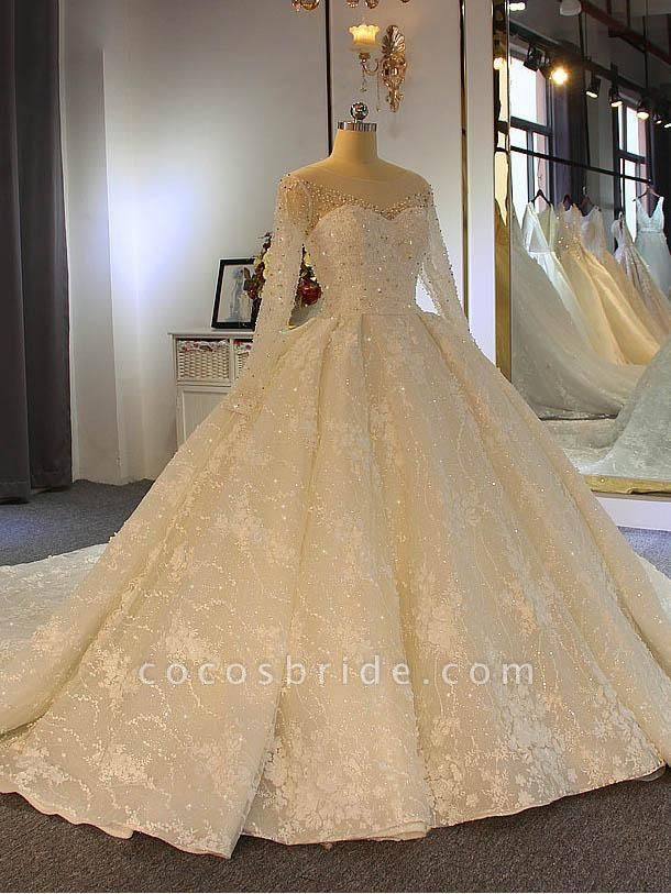 Shinny Long Sleeve Lace-Up Ball Gown Wedding Dresses