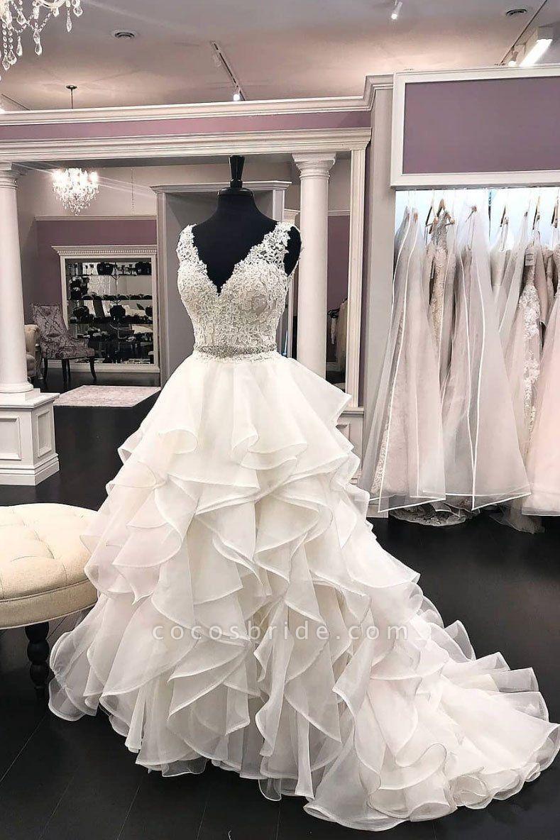 White Organza Ruffles Lace V Neck Formal Beaded Wedding Dress