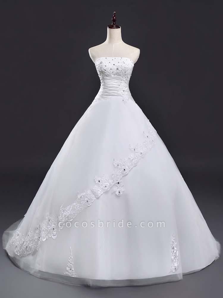Glamorous Strapless Lace-Up Beaded Ball Gown Wedding Dresses