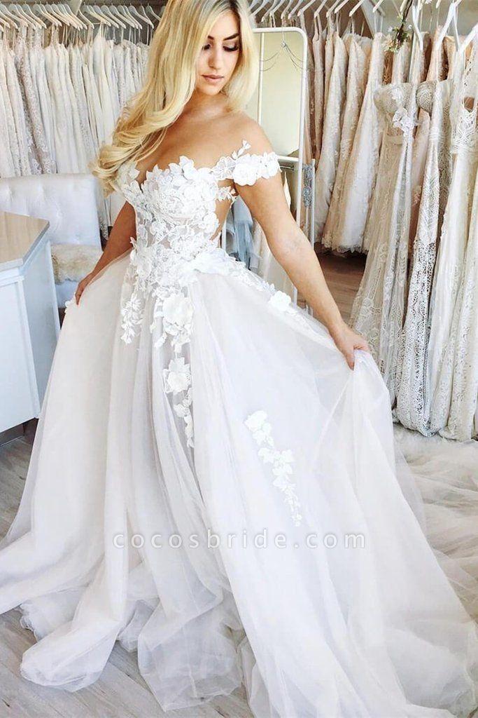 New Chapel Train Appliques Tulle Wedding Dress