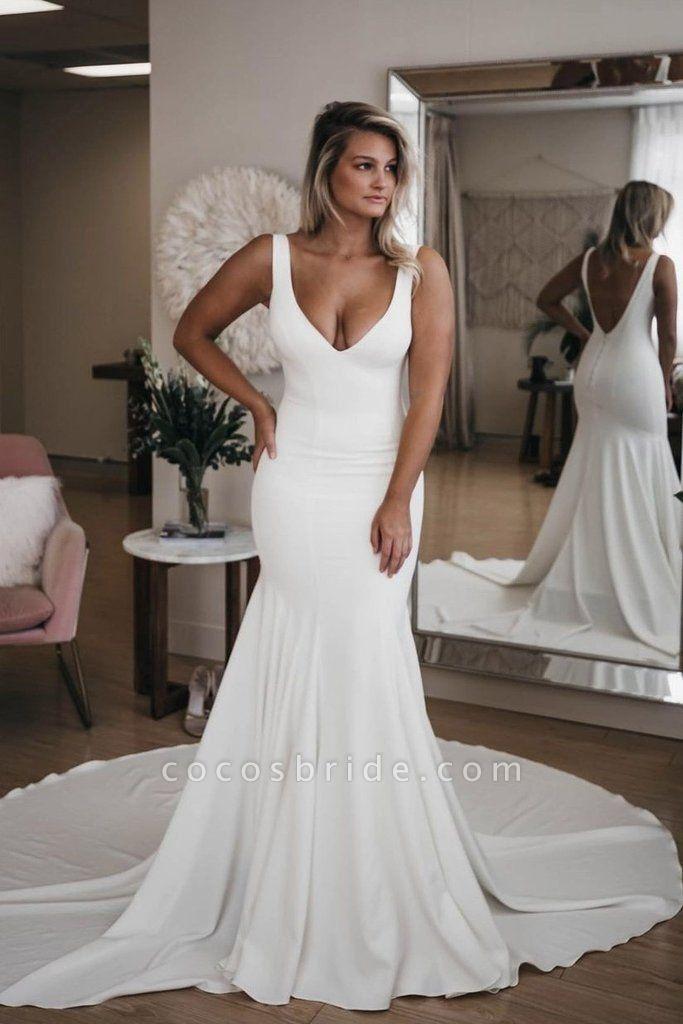 Simple V Neck Mermaid with Long Train Sexy Backless Beach Wedding Dress